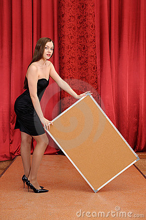Girl hold empty board