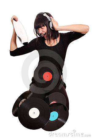 Girl hold lp record