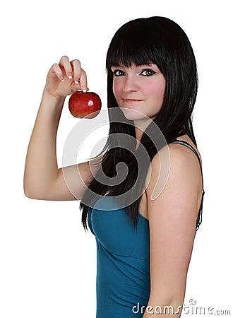 Girl holdign an apple
