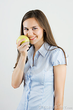 Free Girl Holding A Green Apple Stock Photos - 20335593