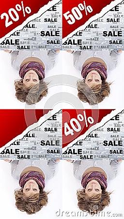 Girl holding advertising banner