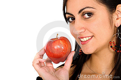 Girl holding an apple