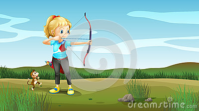 A girl holding an archery with a monkey at the back