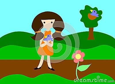 Girl holding baby blue bird