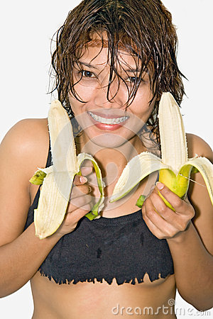 Girl holding a banana