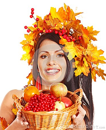 Girl  holding basket with fruit.