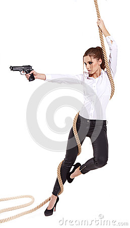 girl holding a black gun