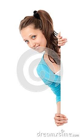 Girl holding a blank billboard