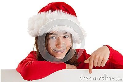 Girl holding blank board