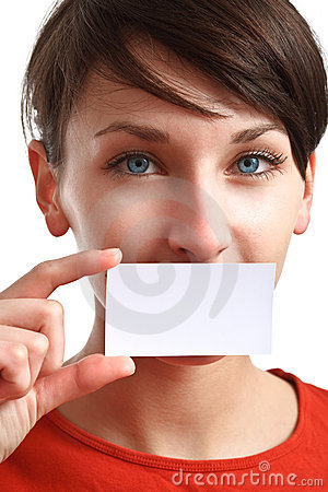 Girl holding blank business card