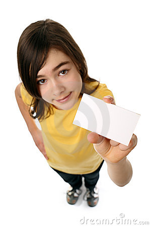 Free Girl Holding Blank Card Stock Photo - 8524070