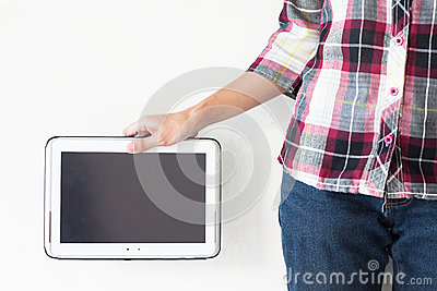 Girl holding a blank pc tablet