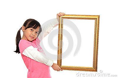 Girl holding blank picture frame