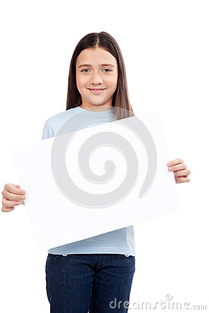 Girl Holding Blank Placard