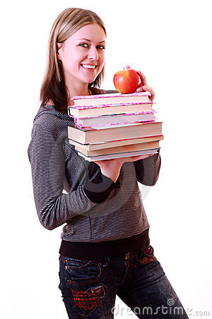 Girl  holding books and apple