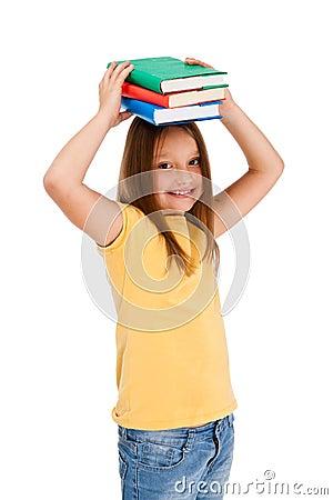 Girl holding books isolated on white background