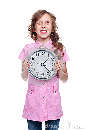 Girl holding clock