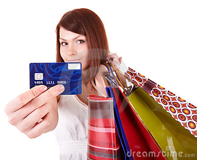Girl holding credit card.