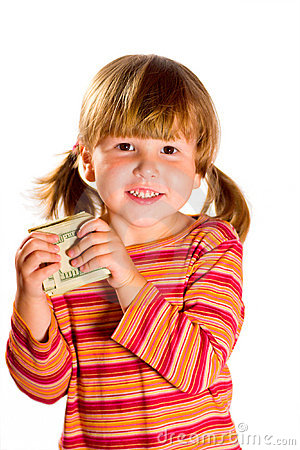 Girl holding dollars
