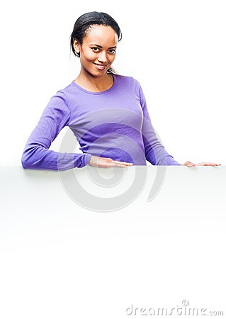 Girl holding empty white board