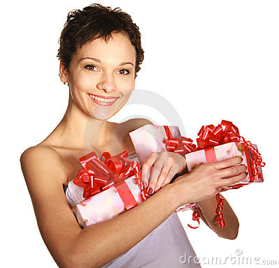 Girl holding a gift boxes