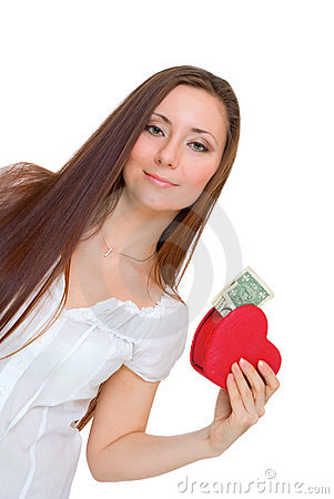 Girl holding a heart with money