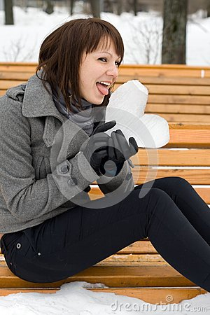 Girl holding an ice heart