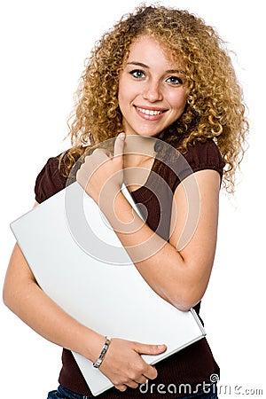 Girl Holding Laptop