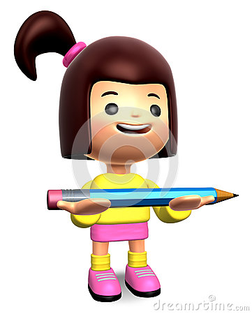 Girl holding a large pencil with both hands