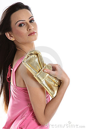 Girl holding little purse