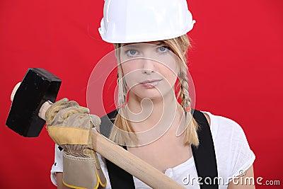 Girl holding mallet