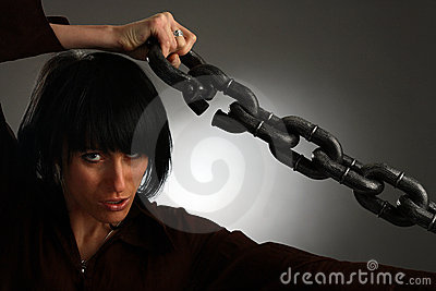 Girl is holding metal chain
