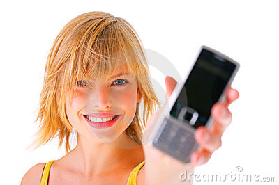 Girl holding a mobile phone