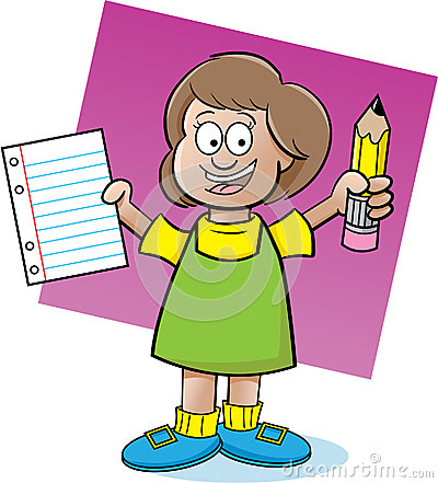 Girl holding a paper and pencil