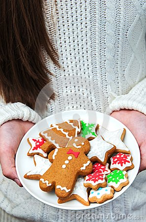 Plate with tasty gingerbread cookies Stock Photo