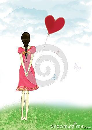 Girl Holding Red Heart...