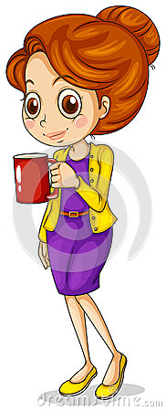 A girl holding a red mug