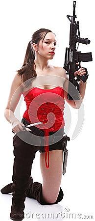Girl holding Rifle islated on white background