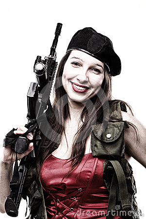 Girl holding Rifle islated on white background