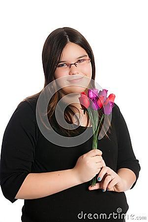 Girl Holding Roses