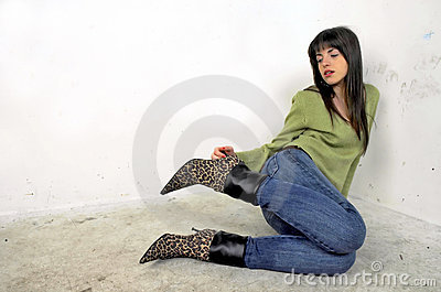 Girl Holding Shoes Royalty Free Stock Photo - Image: 893525
