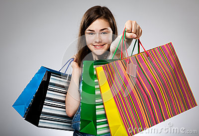 Girl holding shopping bag