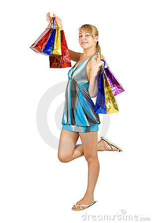 Girl holding shopping bags.