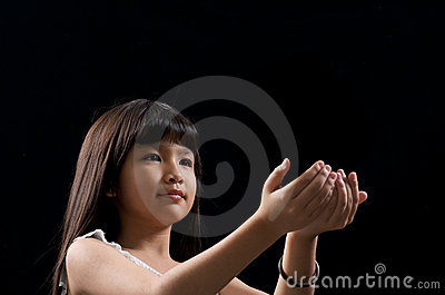 Girl holding something