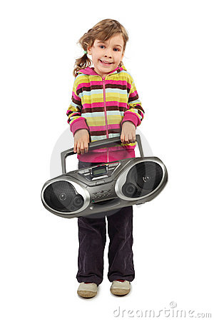 Girl holding tape recorder and smiling