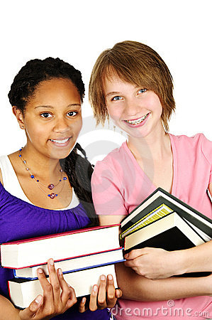 Girl holding text books