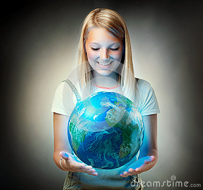 Free Girl Holding The Planet Earth Stock Photos - 25698153