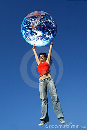 Free Girl Holding The World Stock Image - 3258281