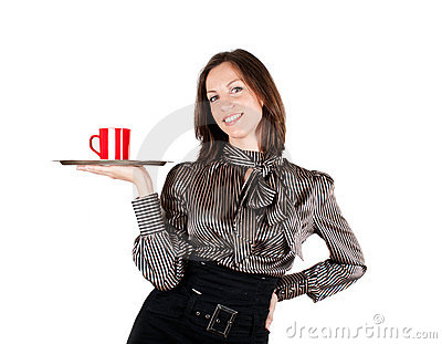 Girl holding a tray with a cup of coffee