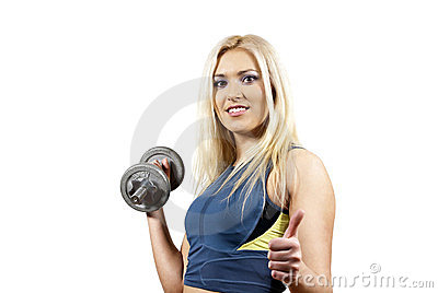 Girl holding a weight on the background